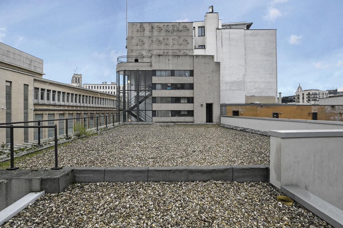 L'ancienne imprimerie du quotidien Le Peuple bâtie par Fernand et Maxime Brunfaut en 1931-1932, rue Saint Laurent, à Bruxelles., LAURENT BRANDAJS