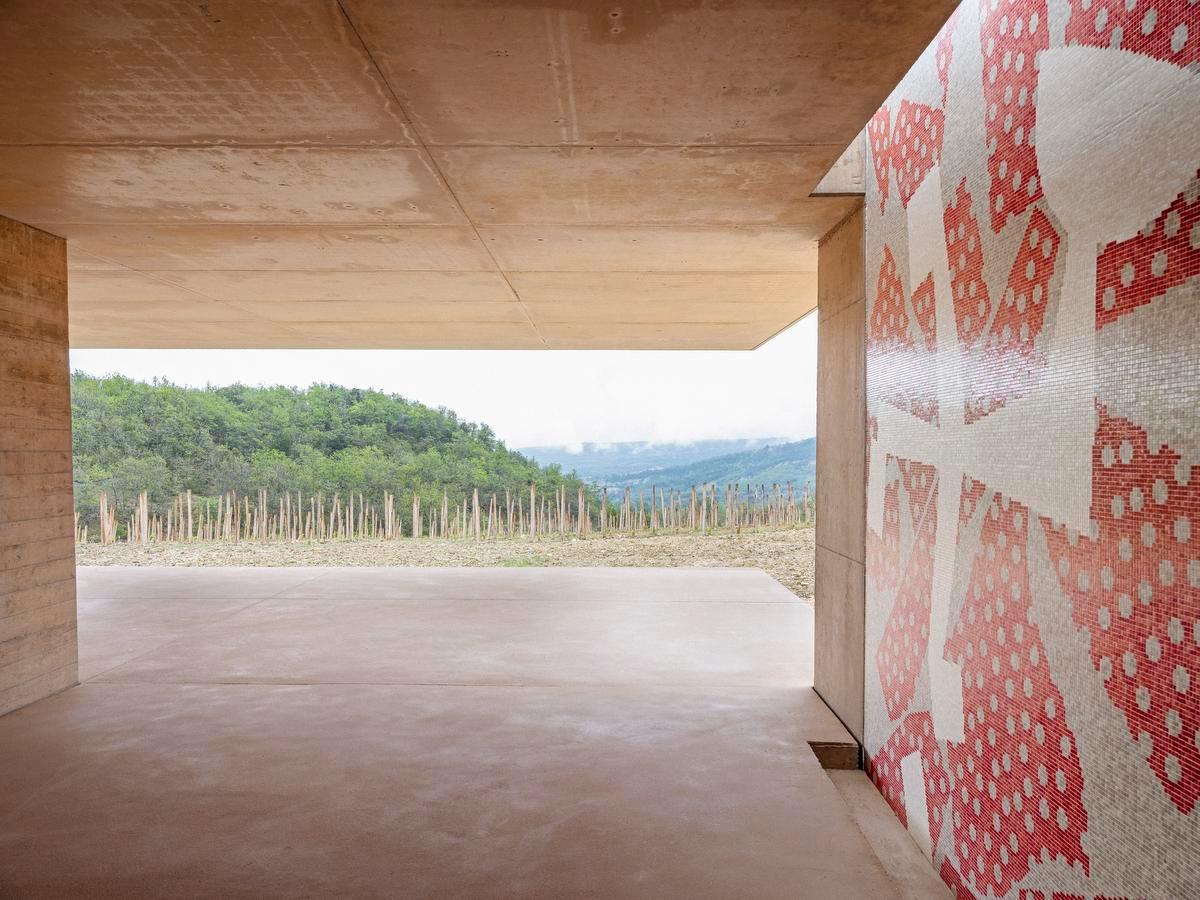 De Belgische kunstenaar Yves Zurstrassen, die in 2019 in Bozar exposeerde, ontwierp een mozaïek voor het wijnhuis. Vanop het terras krijg je een fenomenaal zicht over de wijnranken., Frederik Vercruysse