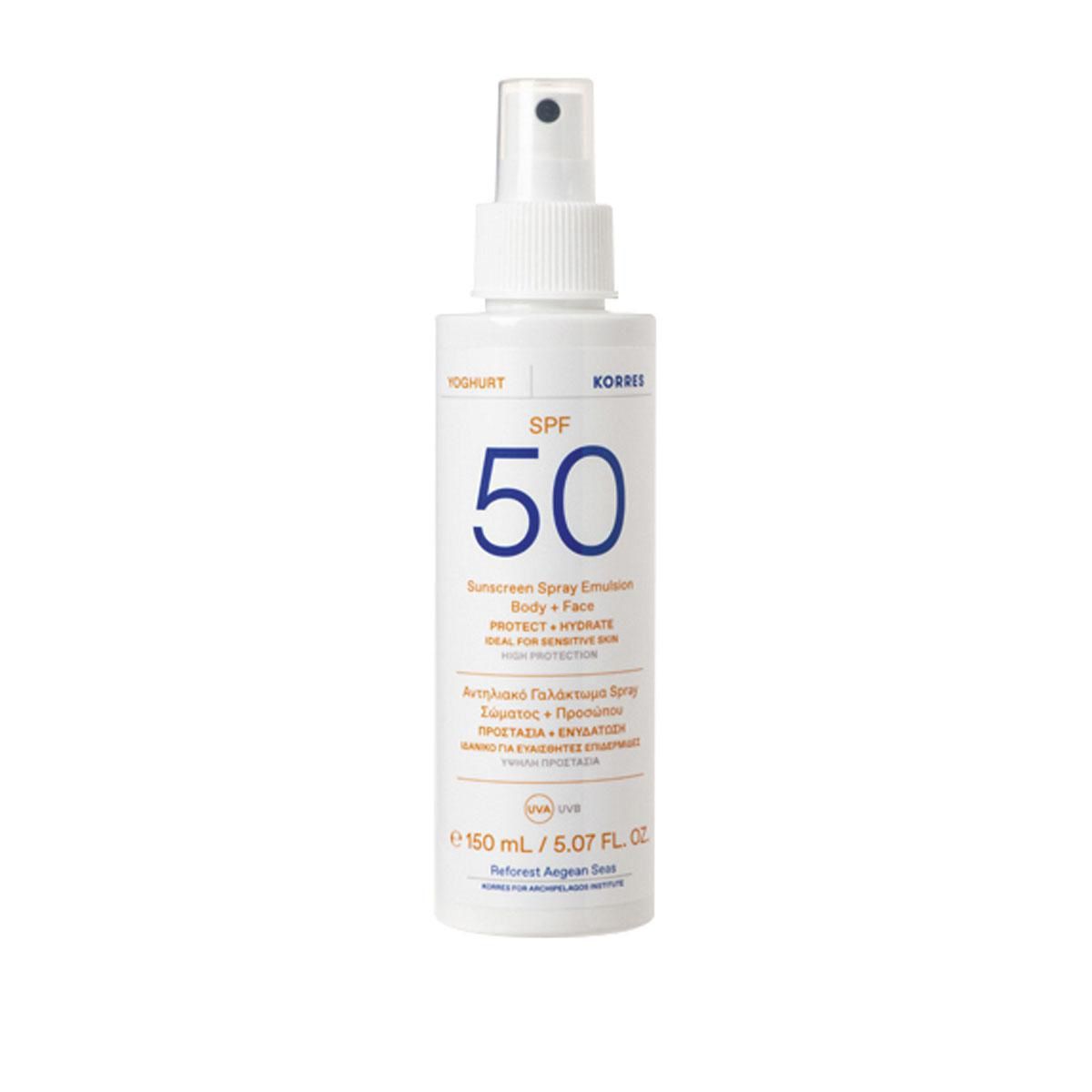 Yoghurt Sunscreen Spray Emulsion Body + Face SPF50, Korres, 24,90 euros, PACKSHOTS: SDP