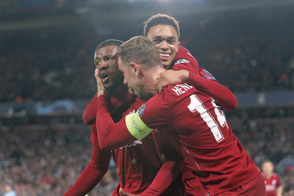 Georginio Wijnaldum, Trent Alexander-Arnold en Jordan Henderson van het ongenaakbare Liverpool van dit seizoen., getty