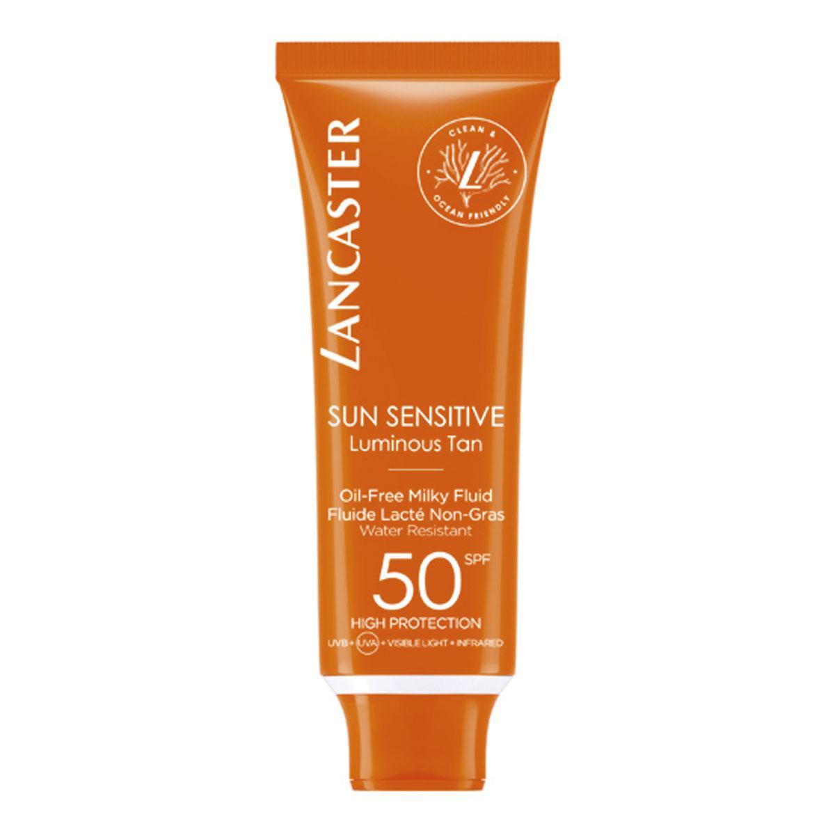 Sun Sensitive Oil-Free Milky Fluid SPF50, Lancaster, 37 euros, PACKSHOTS: SDP