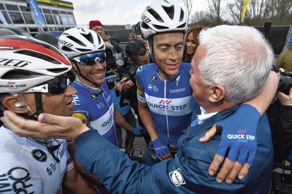 Zdenek Stybar en Philippe Gilbert vieren mee de zege van Niki Terpstra in de Ronde van Vlaanderen 2018., BELGAIMAGE