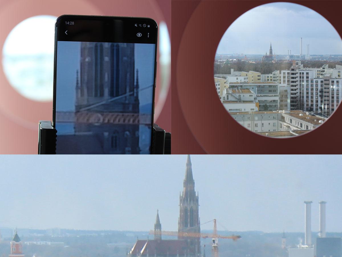 Links: een foto van het scherm van de S20 Ultra na 100x zoom (optisch + digitaal). Rechts: normale foto van een Canon EOS D1300D zonder zoom. Onder: een foto ter vergelijking met de Canon EOS D1300D (18 megapixel) ingezoomd en uitvergroot naar volledige resolutie. De kerk bevindt zich op ongeveer drie kilometer afstand., PVL