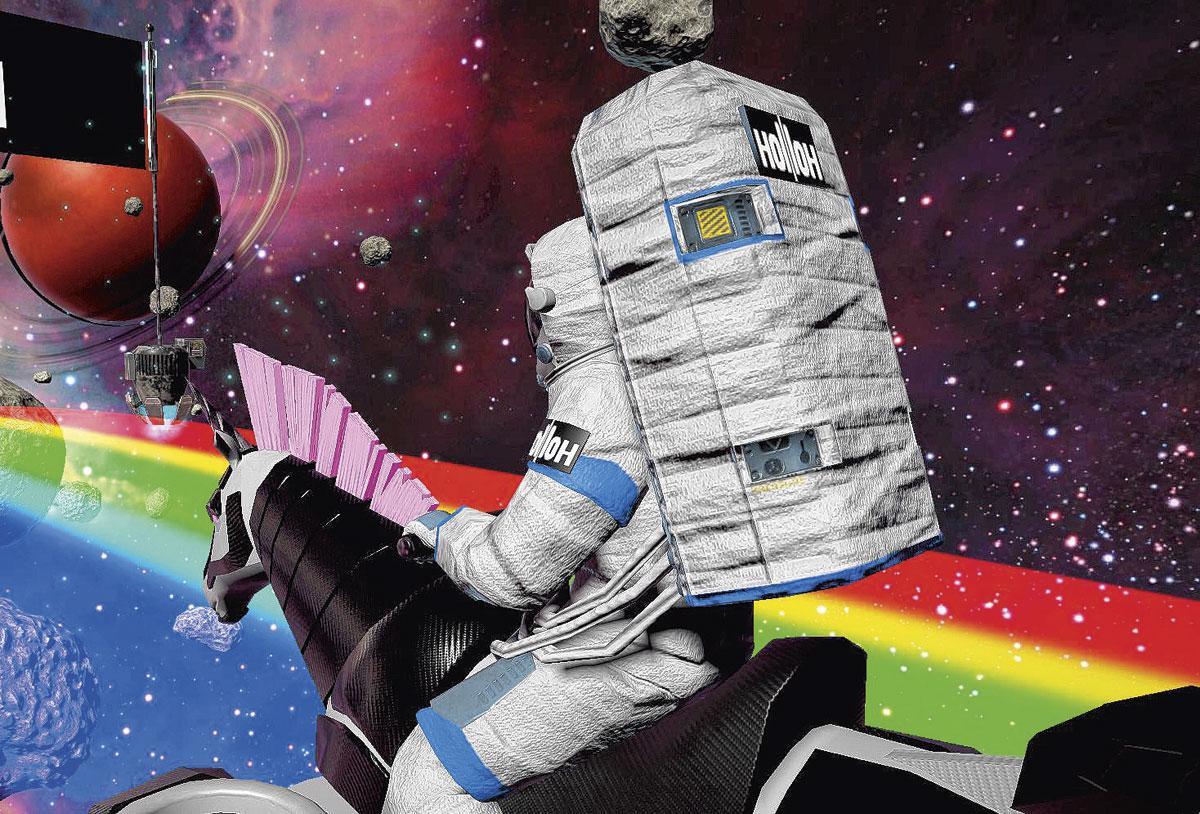 Hollloh offre une multiplicité d'attractions, dont une course de licornes dans l'espace., pg