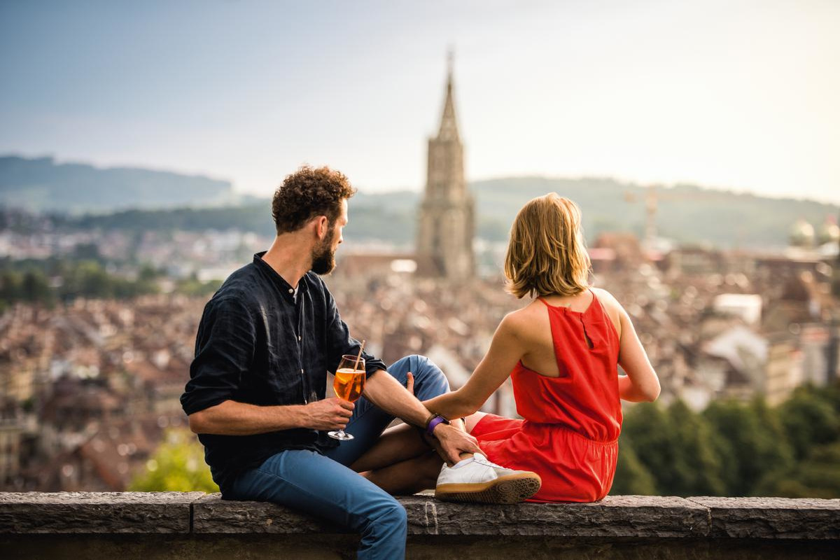 Prachtig uitzicht van de Rosengarten in Bern, Switzerland Tourism