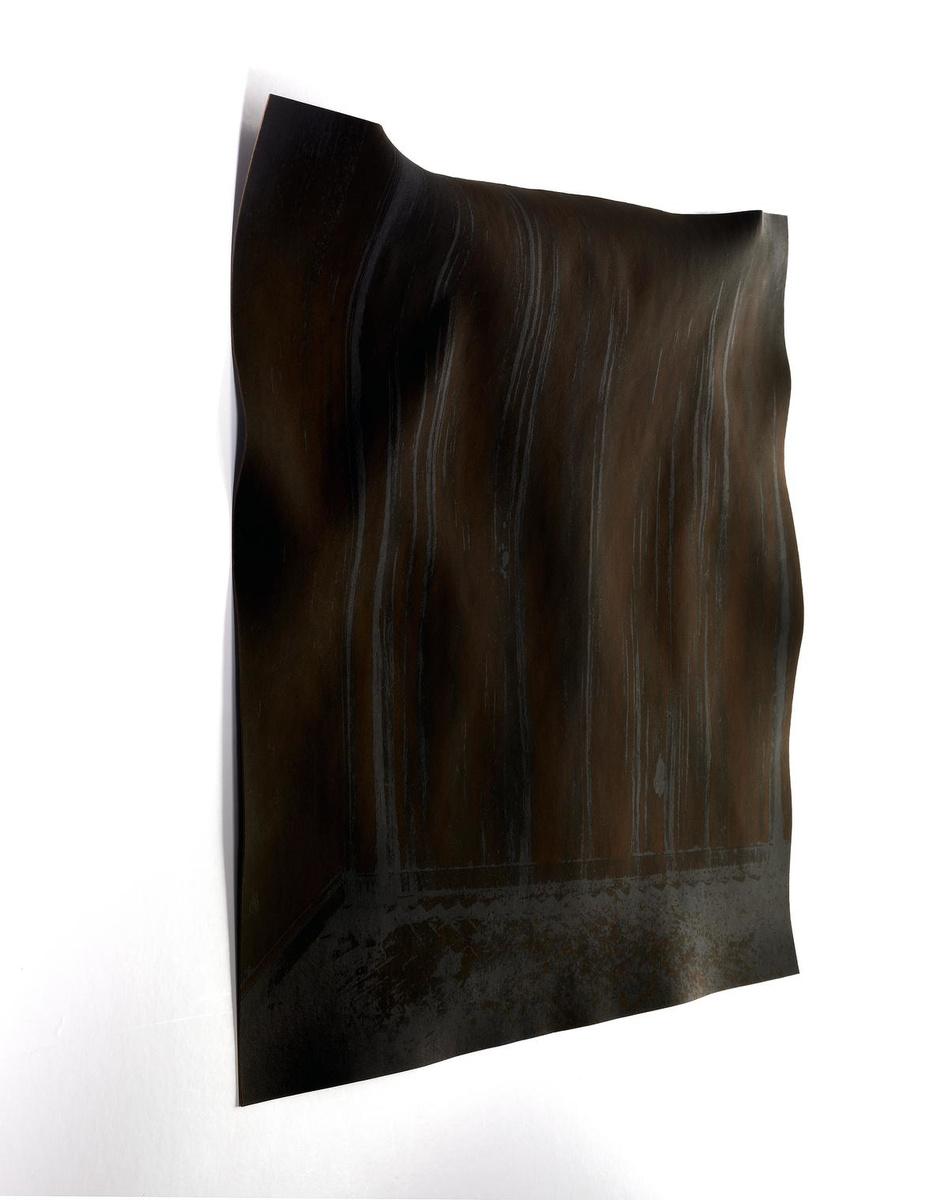 In 'Altered' transformeert Luc Praet zelfs het papier van zijn afbeeldingen, alsof je naar boomschors of een archeologische vondst kijkt., GF / Luc Praet