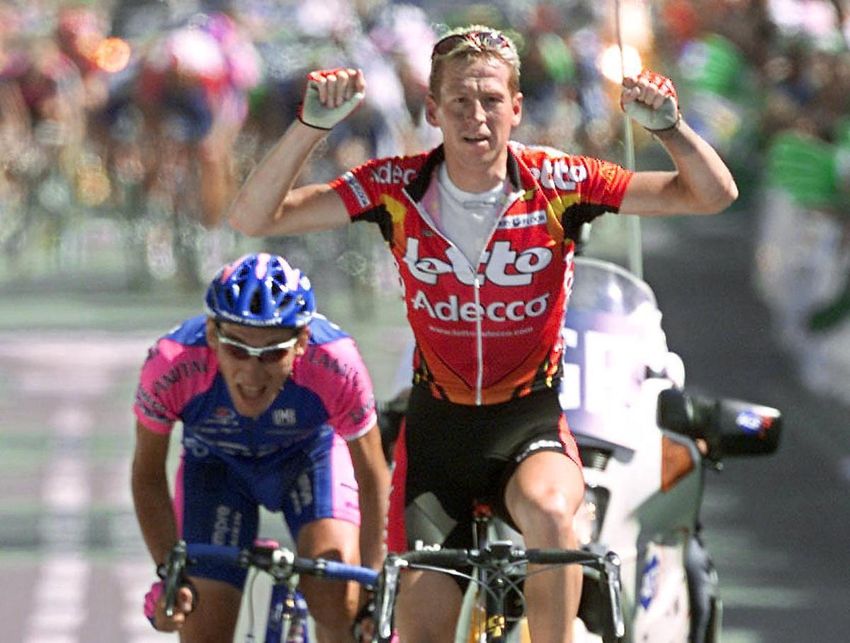 De eerste aankomst van de Tour in Lavaur vond plaats in 2001, gewonnen door Rik Verbrugghe. , AFP