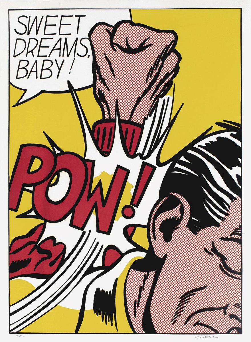 Roy Lichtenstein, Sweet dreams baby!, 1965, zeefdruk op wit velijnpapier. Coll. Lex Harding., ESTATE OF ROY LICHTENSTEIN / SABAM 2020