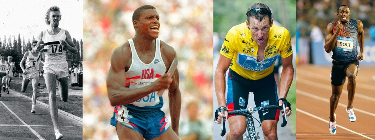 Quelques athlètes qui ont marqué Wilfried Meert: Ivo Van Damme, Carl Lewis, Lance Armstrong, Usain Bolt., INGE KINNET