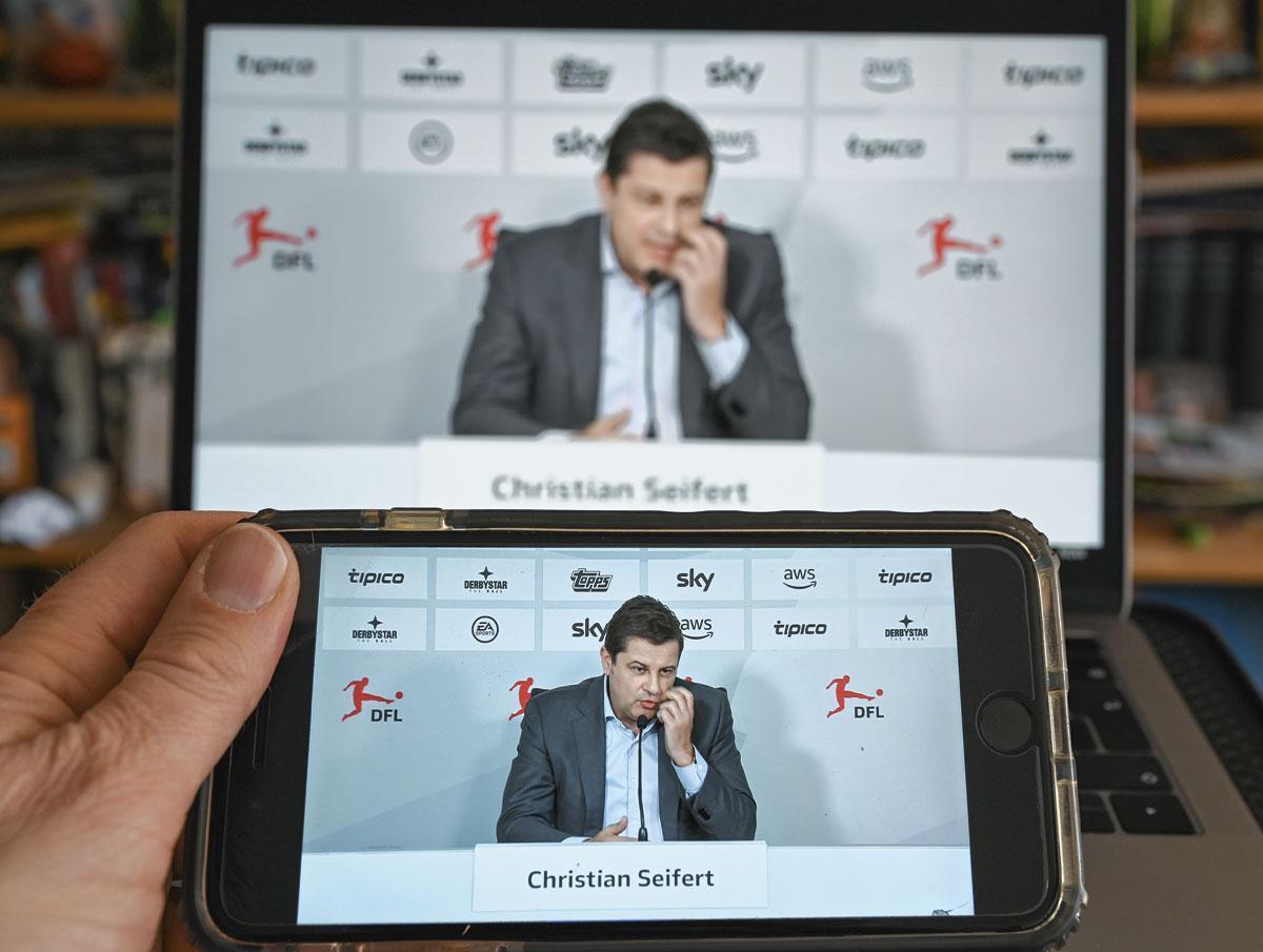 Le 31 mars dernier, le patron de la DFL Christian Seifert est en conférence de presse pour évoquer l'avenir du foot allemand en cette période de pandémie., BELGAIMAGE