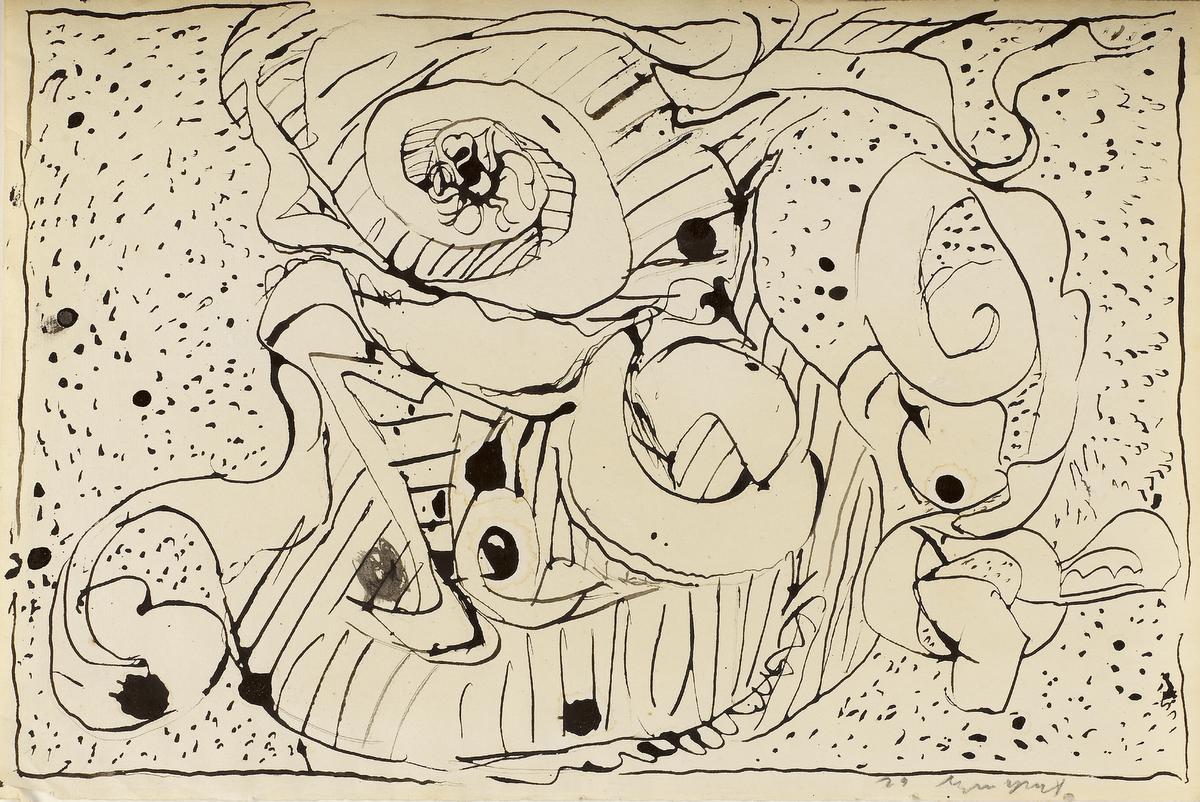 Gepentekende schillen, Pierre ALECHINSKY (1962), Oost-Indische inkt op oud vergépapier., KMSKB, Brussel / Courtesy of the artist | foto: Grafisch Buro Lefevre, Heule