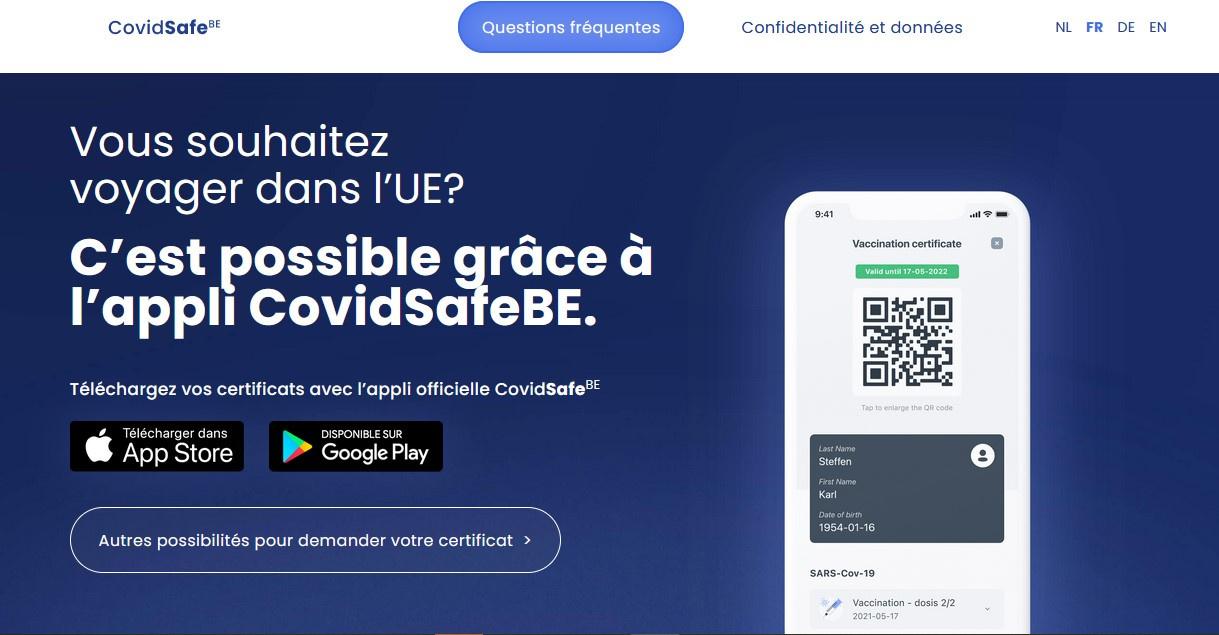 screenshot CovidSafeBE