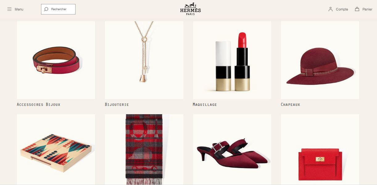 eshop Hermès, capture d'écran
