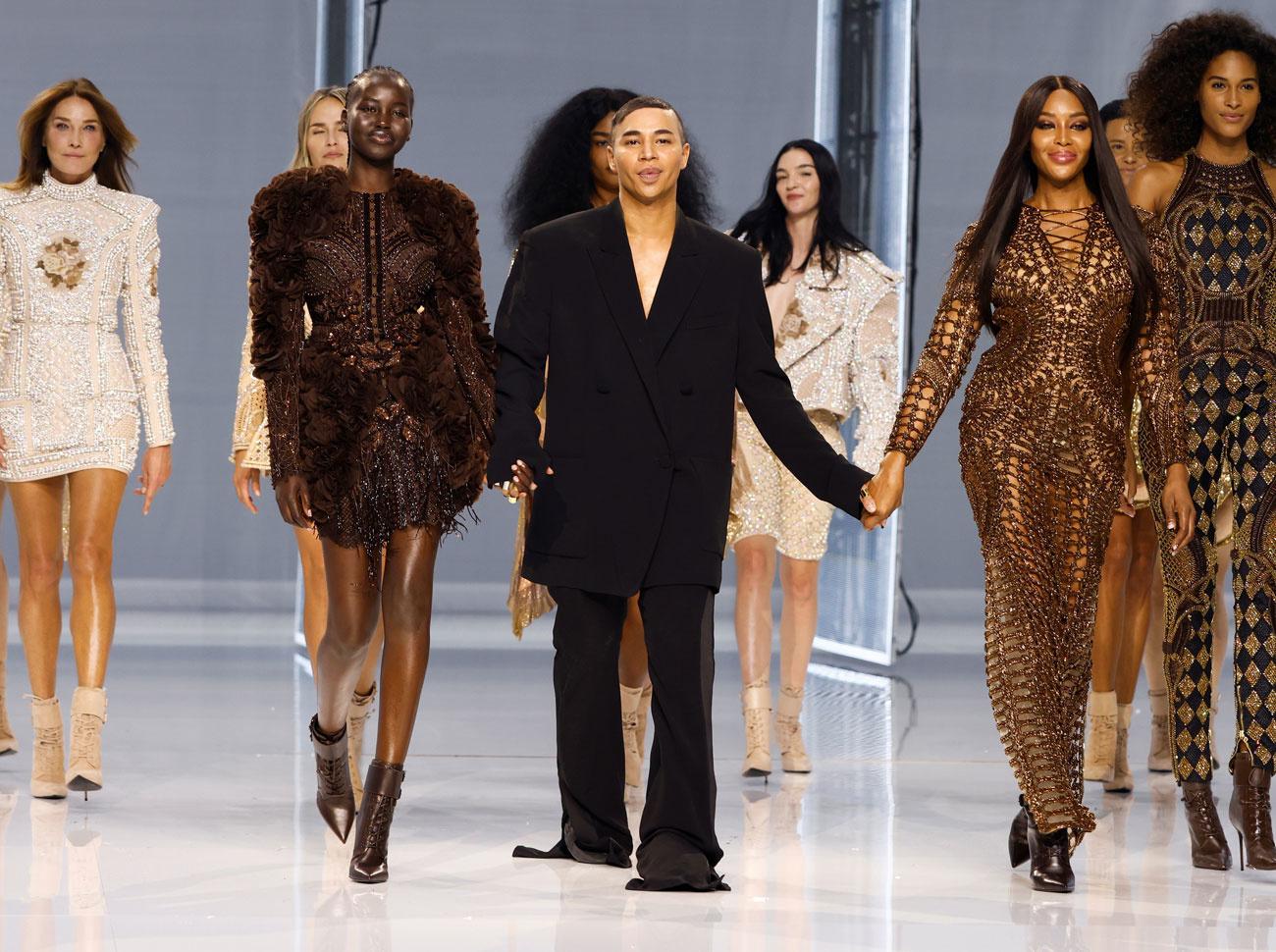 Olivier Rousteing, DA depuis 10 ans de la maison, entouré de Naomi Campbell, Carla Bruni etc, Getty Images