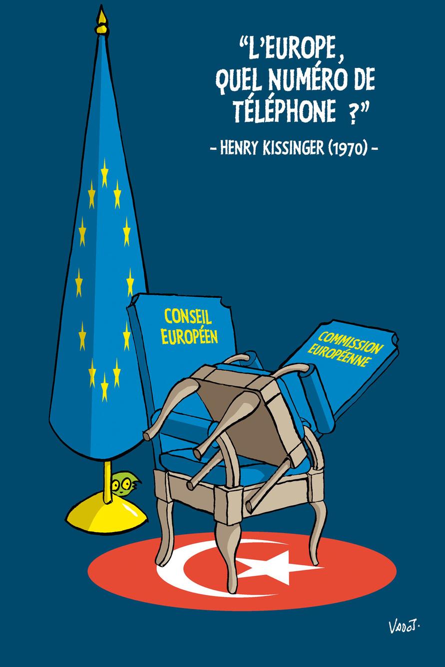 Lors d'une rencontre UE/Turquie à Ankara, il n'y avait qu'une chaise pour l'Union, sur laquelle s'est assis Charles Michel laissant Ursula von der Leyen debout., Vadot