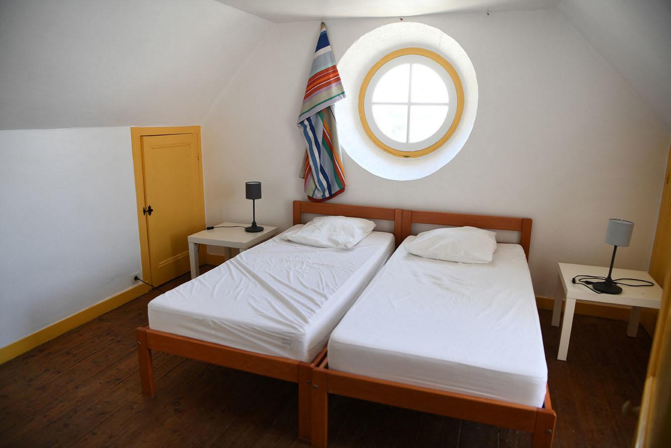 Chambre à coucher du phare de l'Île de Louet, à Carantec, en Bretagne, Belga Images