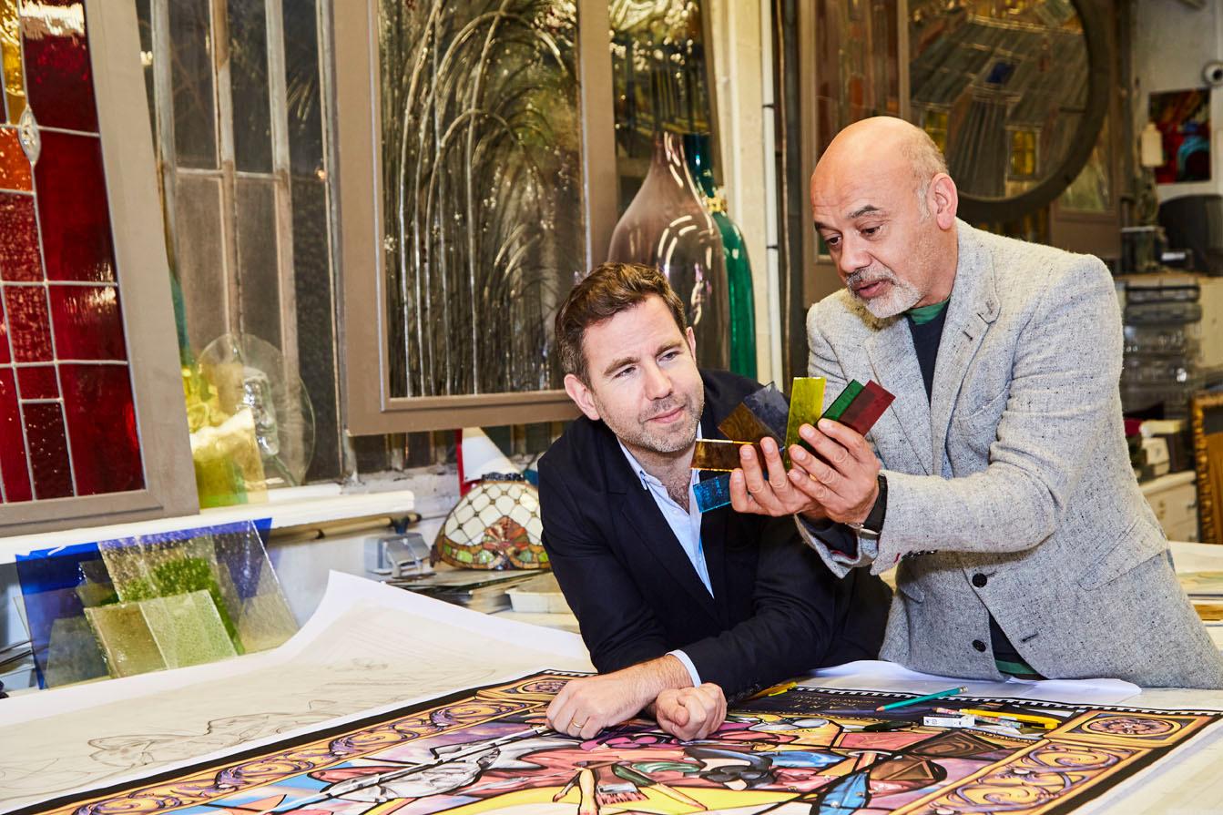 Christian Louboutin et Olivier Gabet à la Maison du Vitrail, Paris, Courtesy of Christian Louboutin