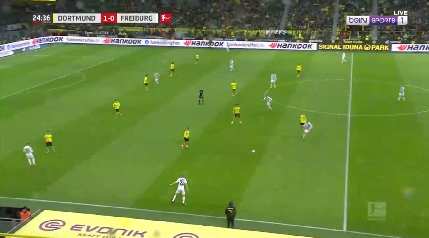 Opstelling van Dortmund in balverlies in 5-4-1. De tegenstander wordt verplicht langs de flanken aan te vallen., BeIn Sports