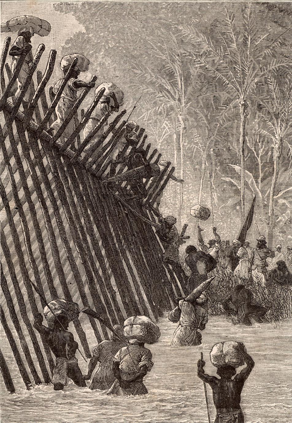 Au cours de son expédition africaine (1872-1875), l'explorateur Verney Lovett Cameron (1844-1894), chargé par la Royal Geographical Society de retracer le parcours de Livingstone, traversa notamment la rivière Lwalaba. Il finit par retrouver Livingstone, alors décédé. Gravure extraite du Journal de la Jeuness, Paris, 1879., iStock