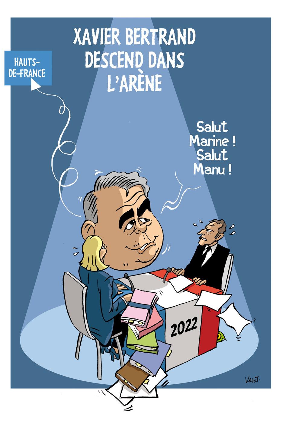 En ballotage favorable dans Hauts-de-France, Xavier Bertrand (LR) est en passe de remporter la victoire au second tour des élections régionales et se positionne en vue de la présidentielle 2022., Vadot