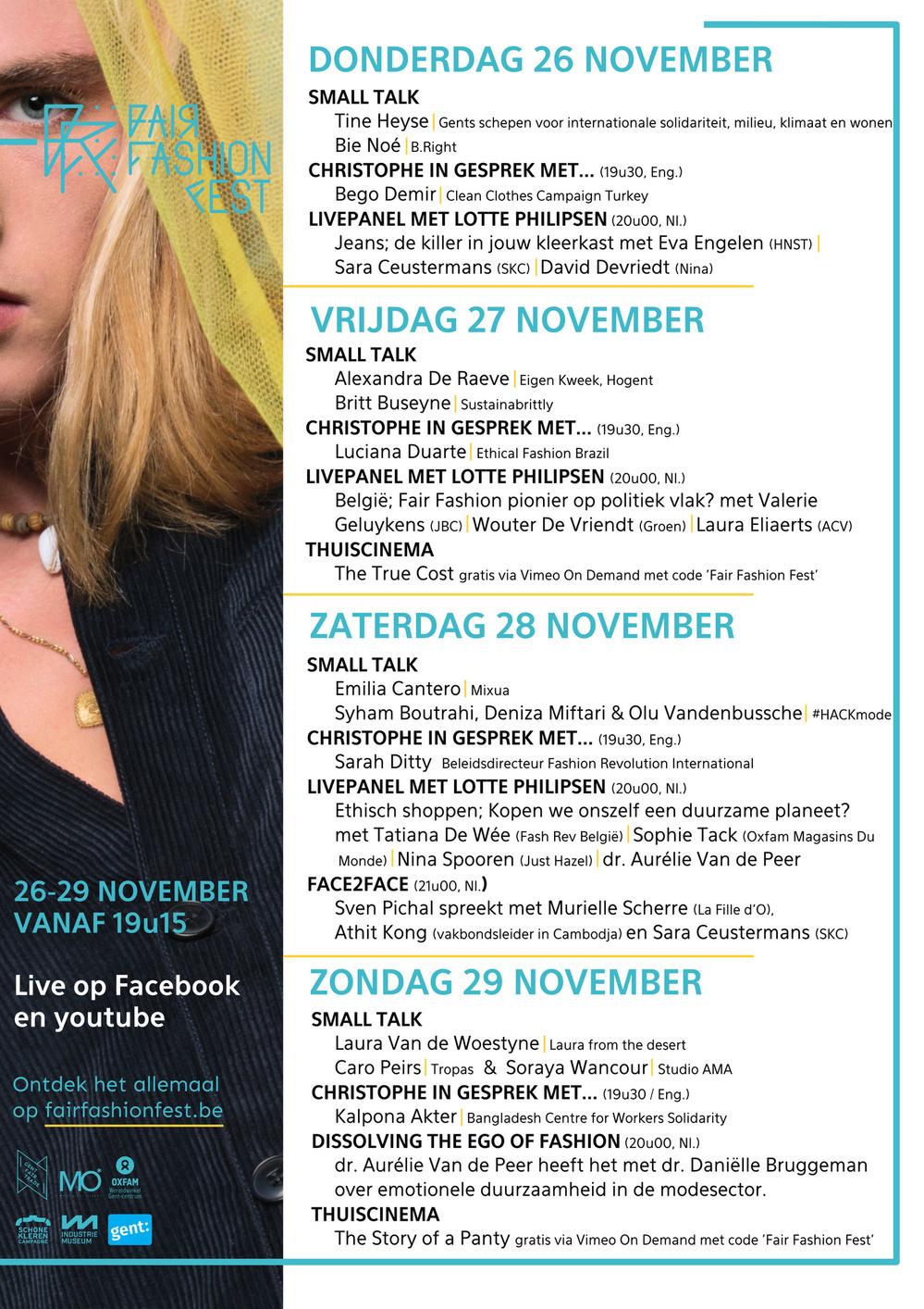 Het programma van het Fair Fashion Fest, FFF