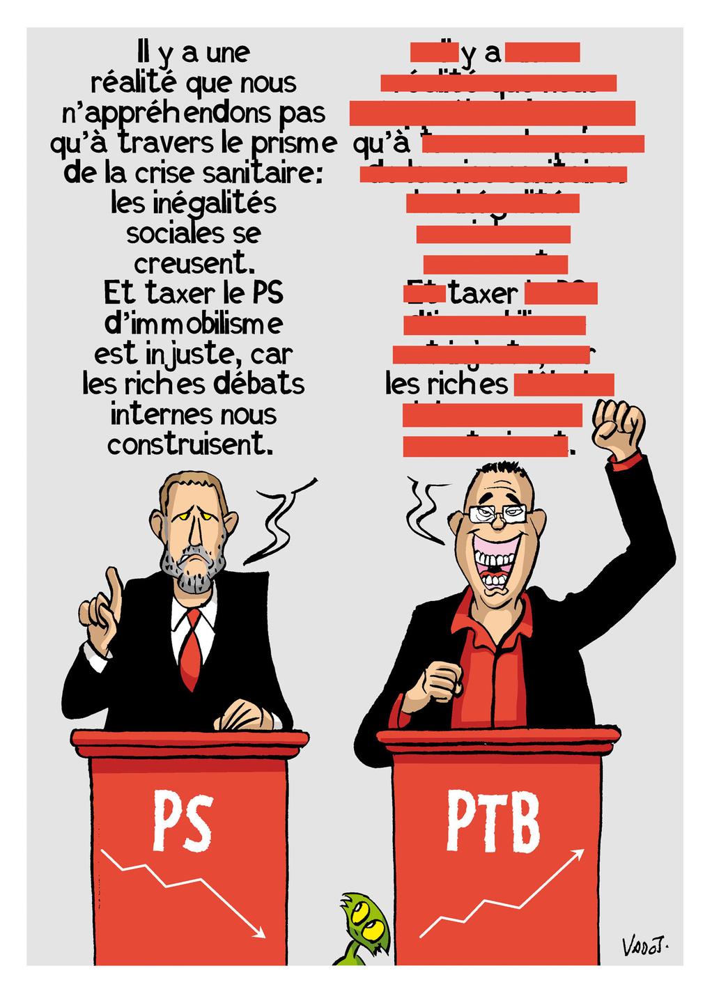 Le PS envoie ses cadors au front pour dénoncer les discours simplistes du PTB, très en vogue dans les sondages., Vadot