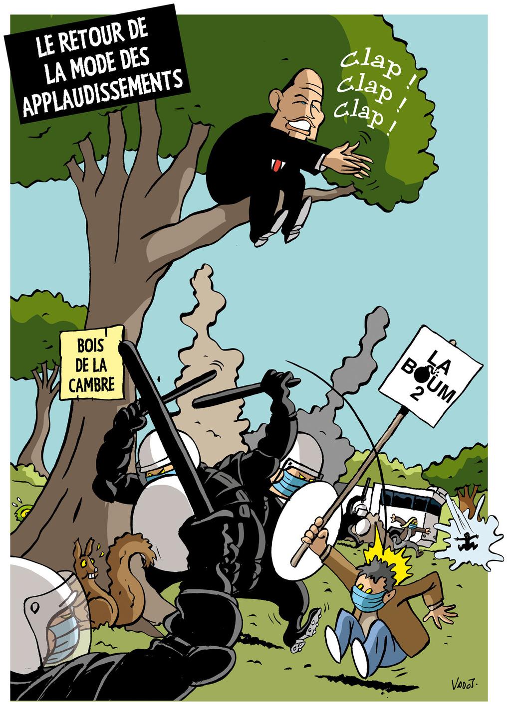 """Malgré les nombreuses violences policières survenues lors de la """"Boum 2"""" au bois de la Cambre, la bourgmestre de Bruxelles Philippe Close se réjouit de l'action des forces de l'ordre., Vadot"""