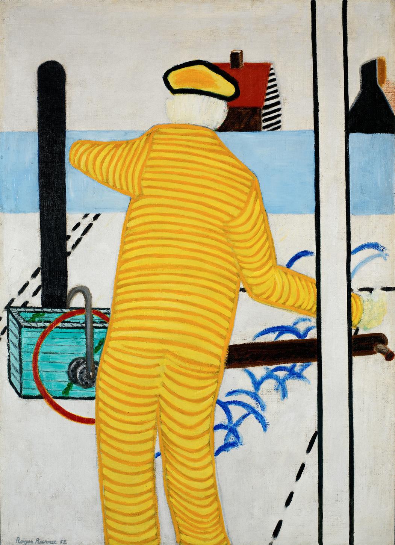 Roger Raveel, Homme jaune avec charrette, 1952, Collection de la Communauté flamande/Musée Roger Raveel,  Raveel - MDM. Photo: Peter Claeys