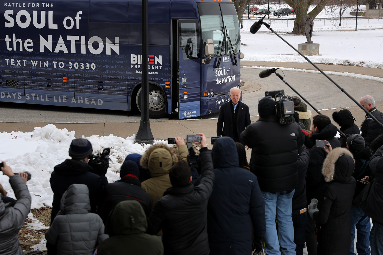 Joe Biden à son arrivée dans l'Iowa, Getty Images