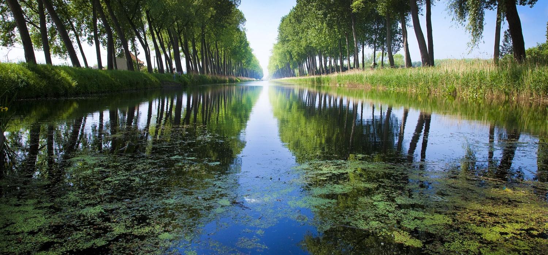Een van de kanalen in de regio waar je eindeloos kan fietsen langs het water, inclusief de bomenrijen die erkend werden als monument., Westtoer APB
