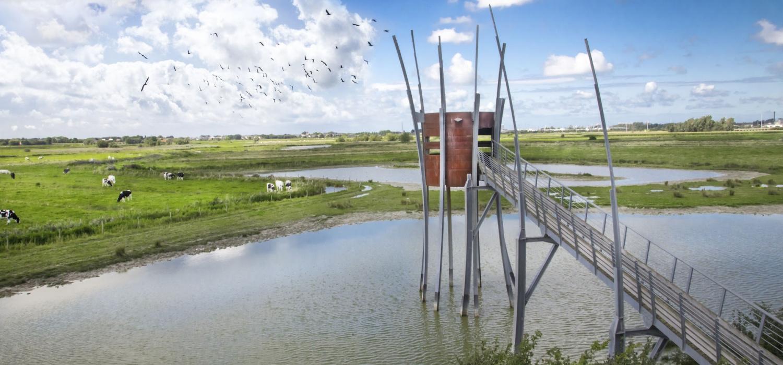 Voor een spectaculair uitzicht op de vlakke polders en het natuurgebied Zwaanhoek., Westtoer APB