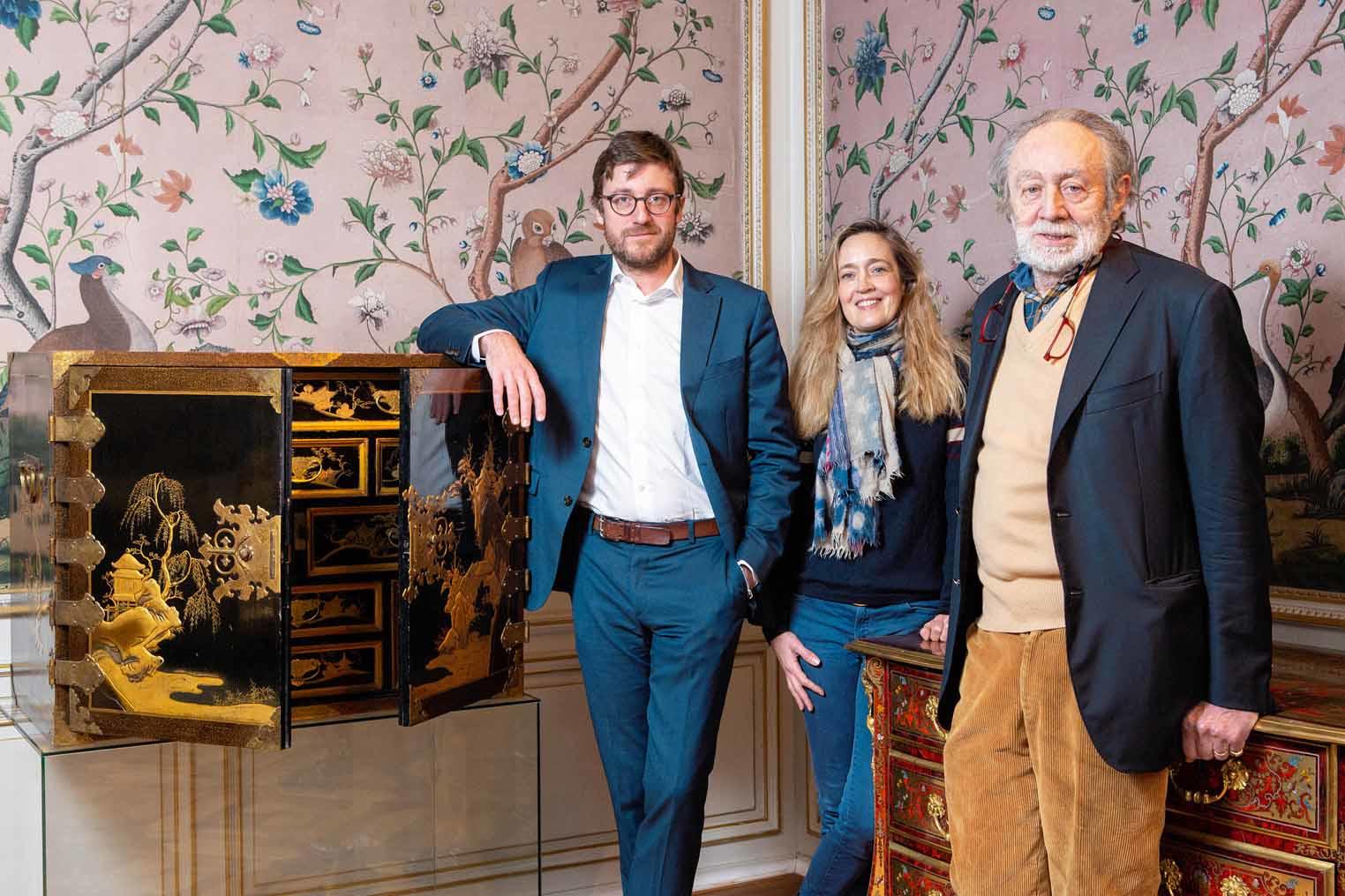 Marc-Henri Jaspar Costermans et ses enfants Arnaud et Valérie, dr