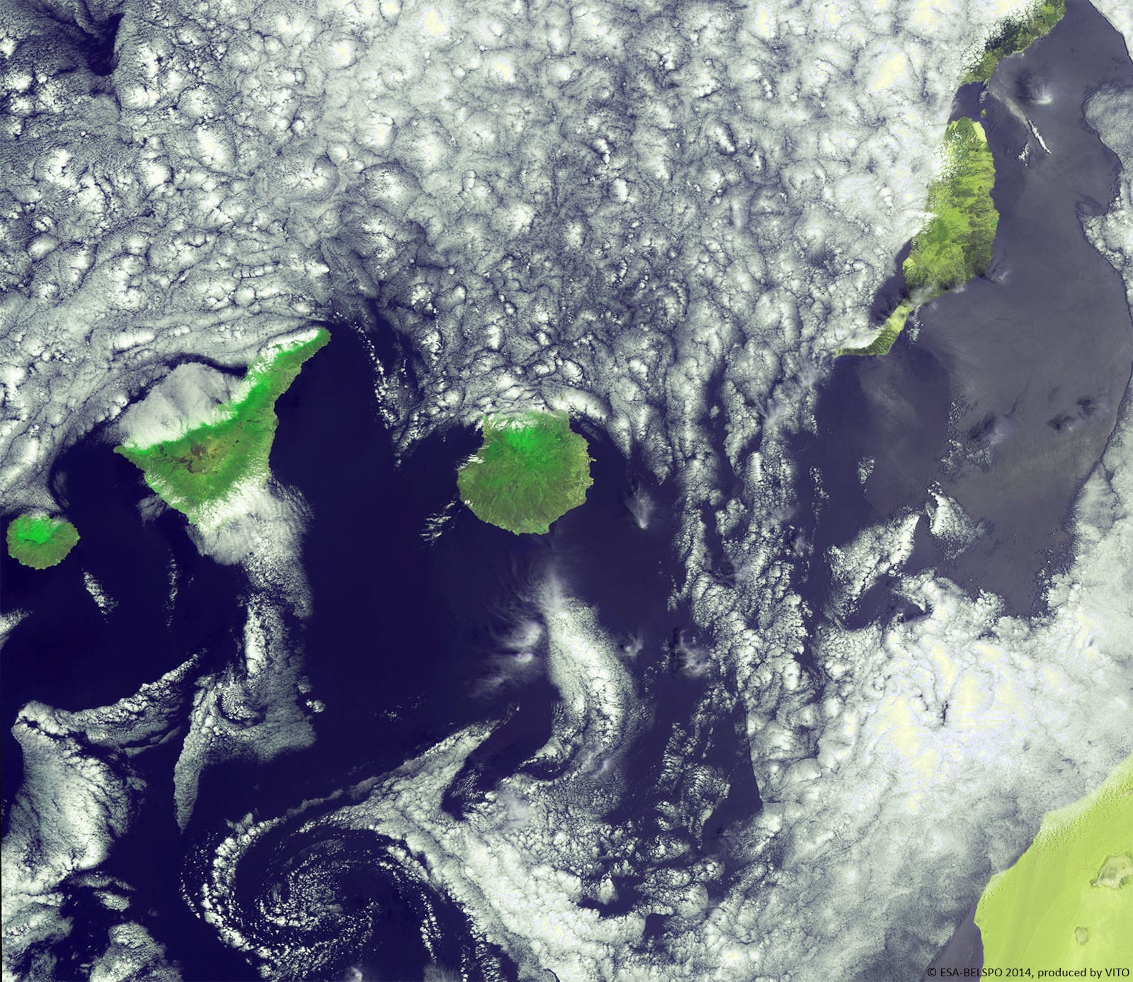 De Canarische eilanden gefotografeerd door PROBA-V., ESA/Belspo/VITO