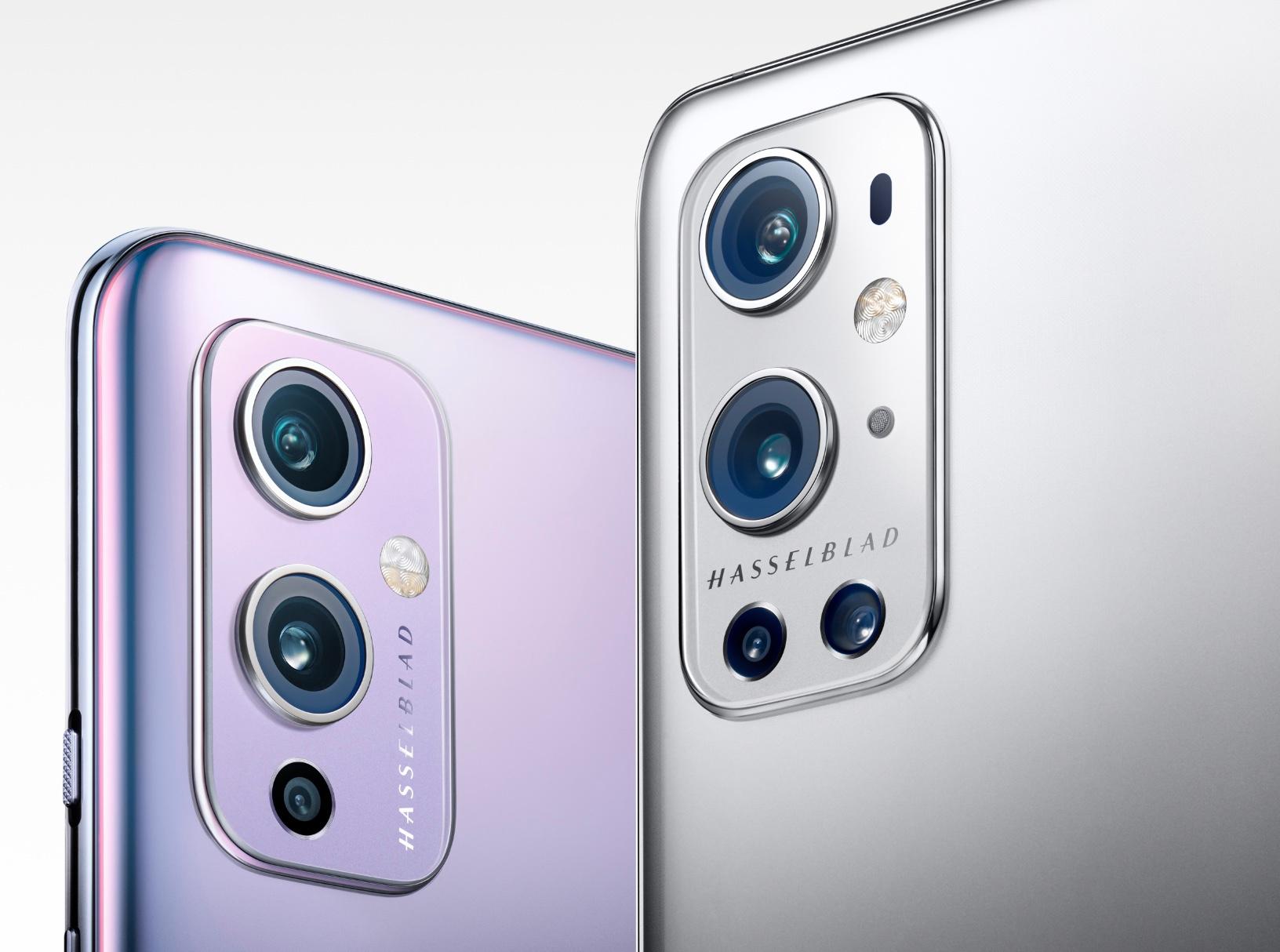 Links de Hasselblad-optiek van de OnePlus 9, rechts het camerasysteem van de Pro-versie., OnePlus