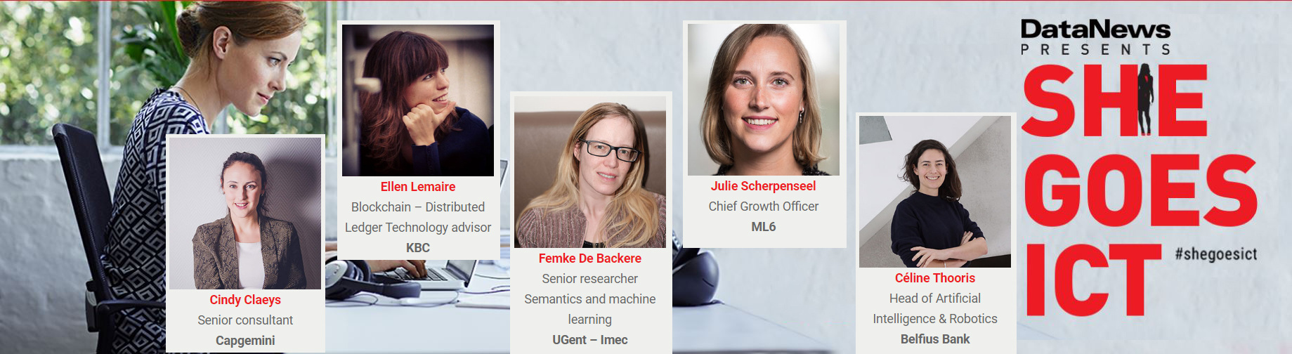 De 5 finalistes voor Young ICT Lady of the Year., DN