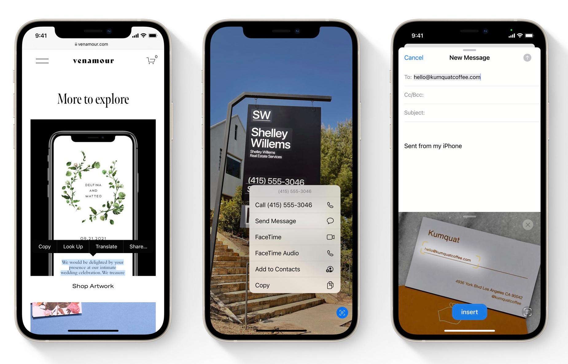 Livetekst in iOS 15., Apple