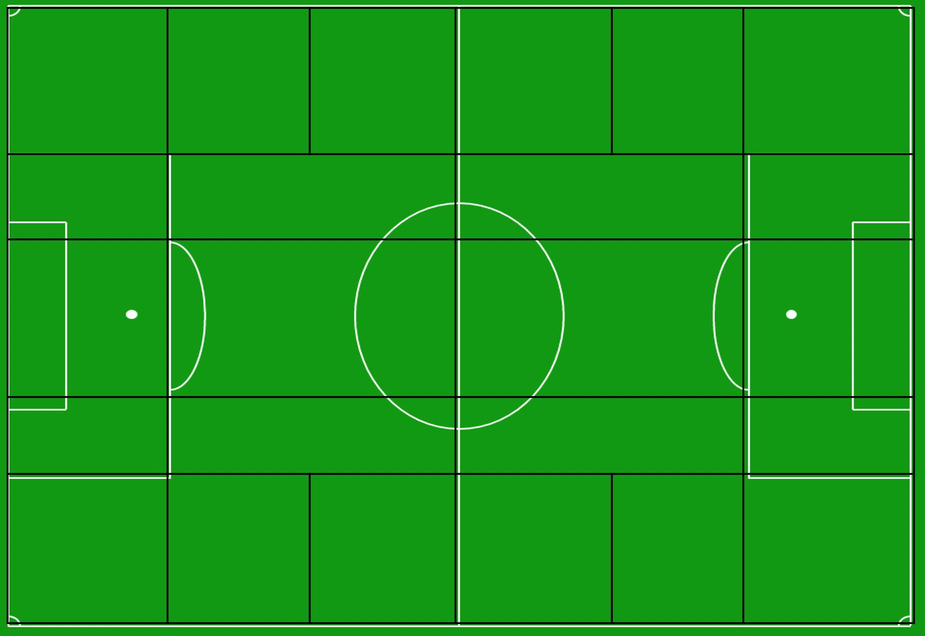 Een voetbalveld onderverdeeld in zones zoals Guardiola en Klopp het zien., Redactie