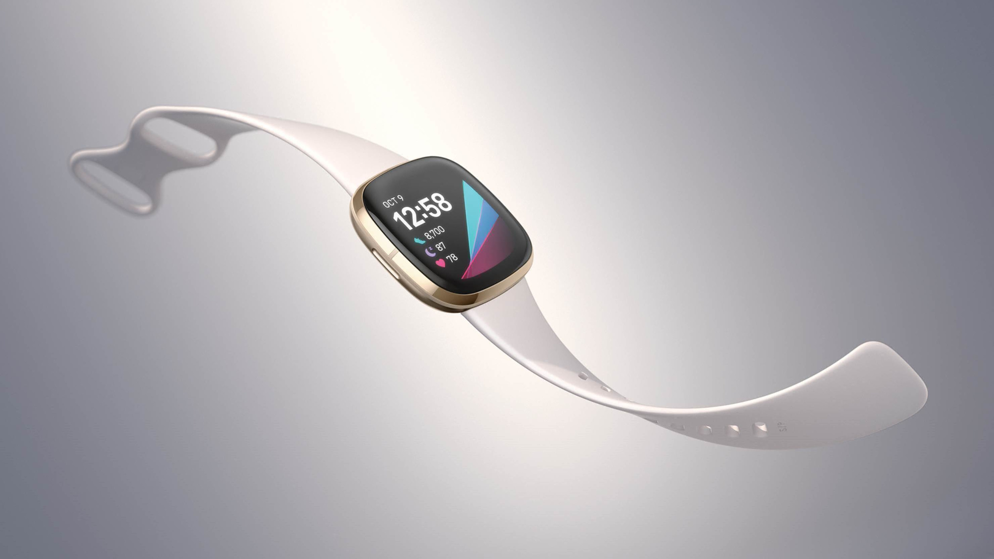De Fitbit Sense, in een van de vele beschikbare uitvoeringen., Fitbit
