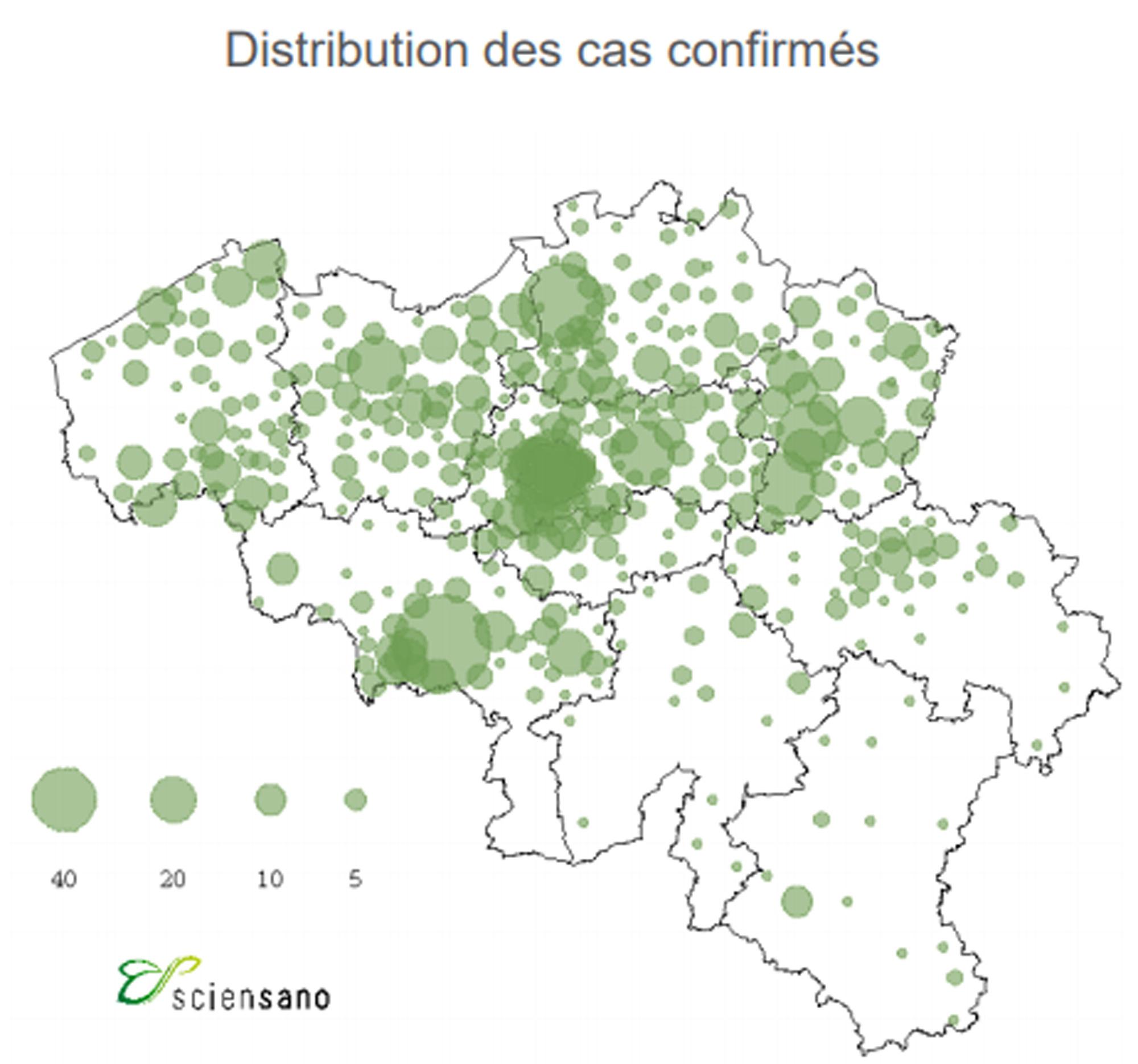 """Cette carte représente la distribution des cas rapportés. """"En raison de l'utilisation de la date de diagnostic, les données des deux derniers jours doivent encore être consolidées"""", précise Sciensano., Sciensano"""
