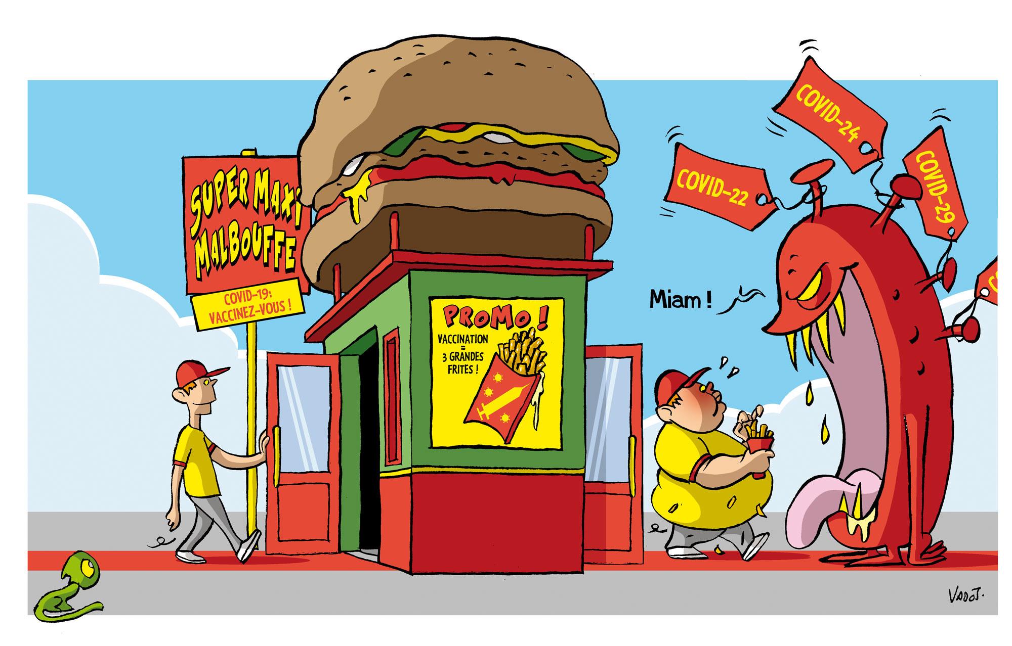 Plusieurs chaînes de fast-food américaines font des promotions pour les gens vaccinés contre le coronavirus, alors que l'obésité est l'une des principales causes de comorbidités liées à la maladie., Vadot