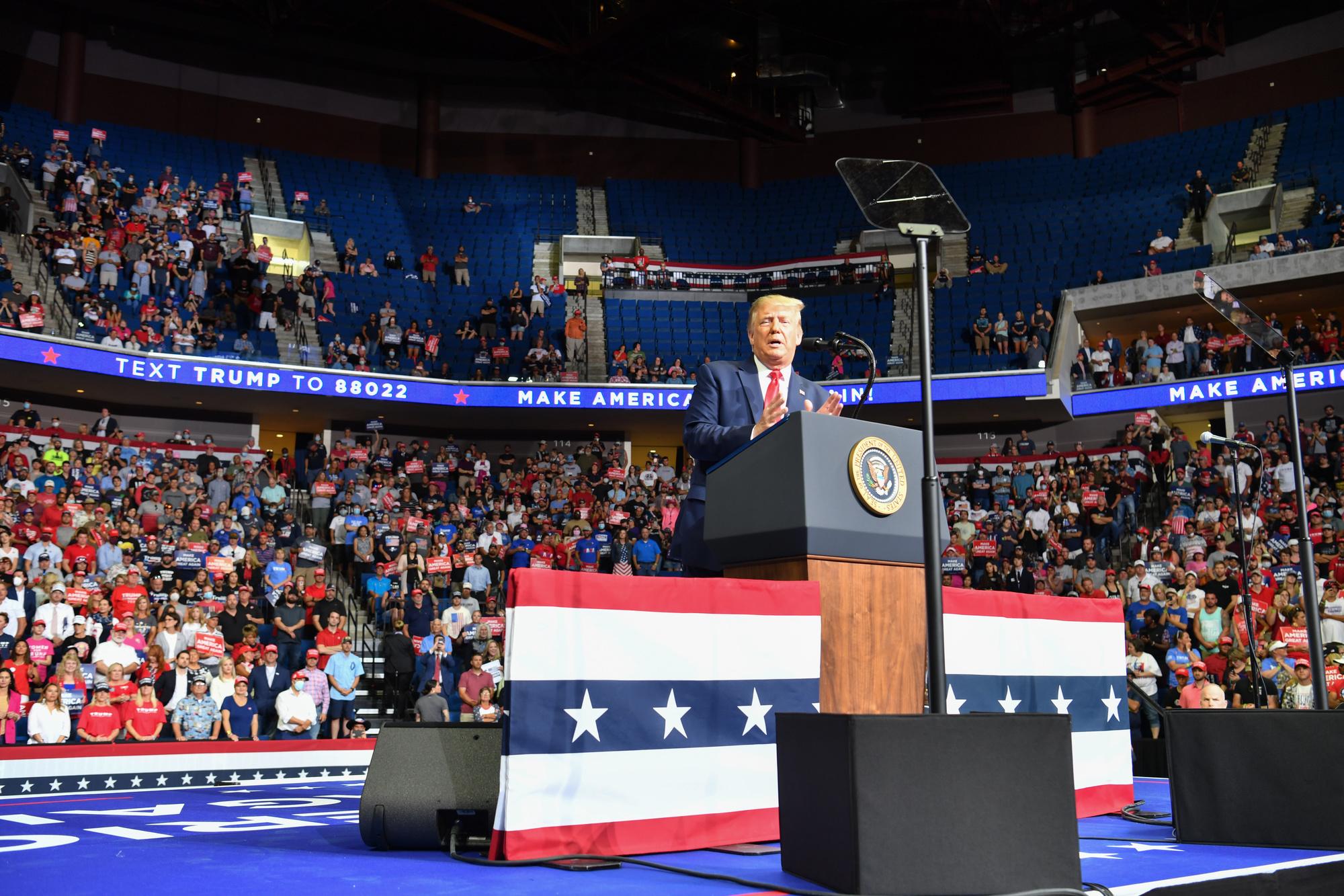 Donald Trump en meeting à Tulsa, le 20 juin dernier., Nicholas Kamm / AFP