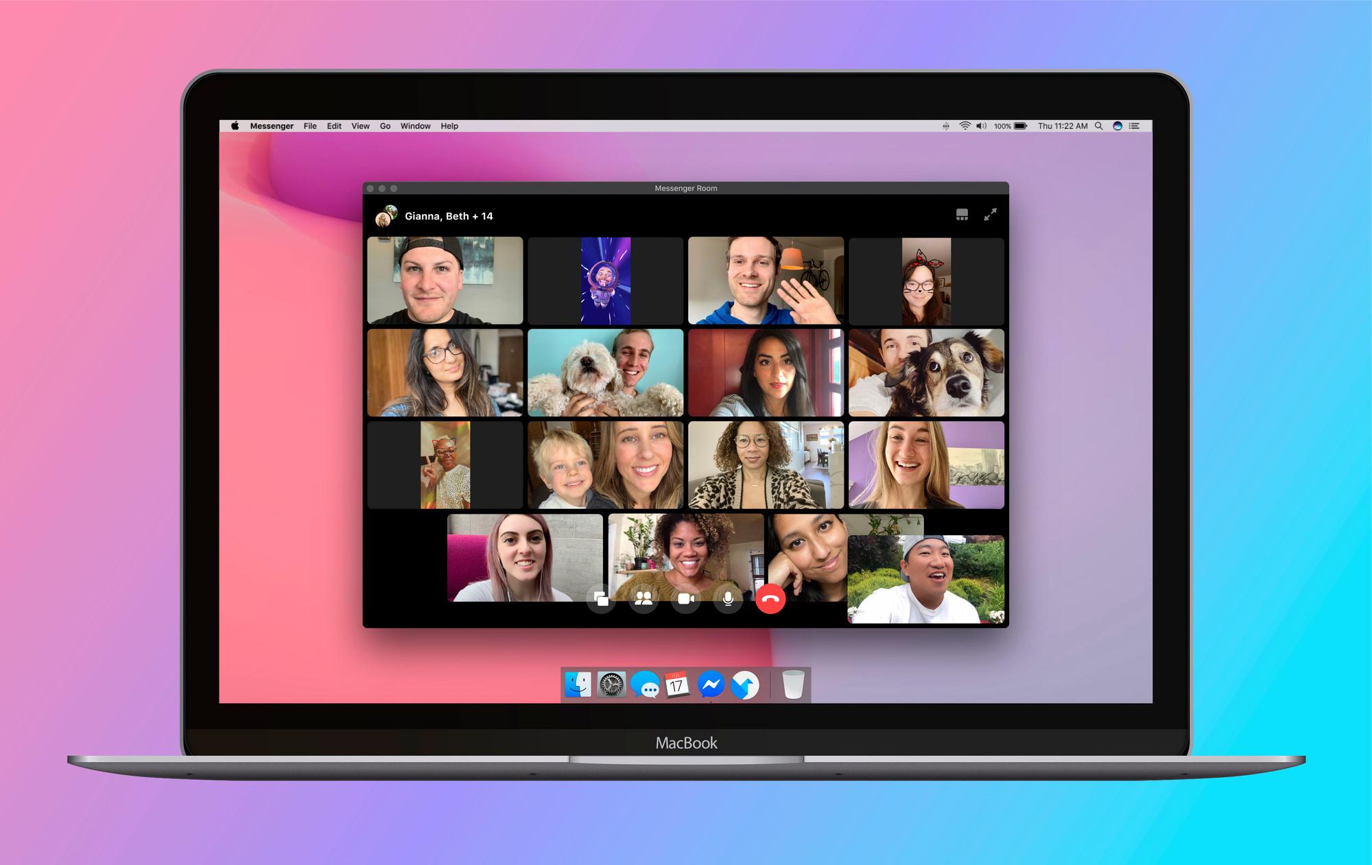 Facebook Messenger Rooms laat videogesprekken met 50 mensen toe., Facebook