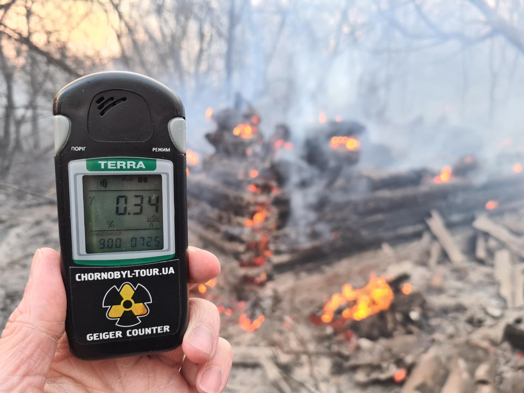 Compteur Geiger à 30 kilomètres de la zone d'exclusion de Tchernobyl., Yaroslav EMELIANENKO / AFP