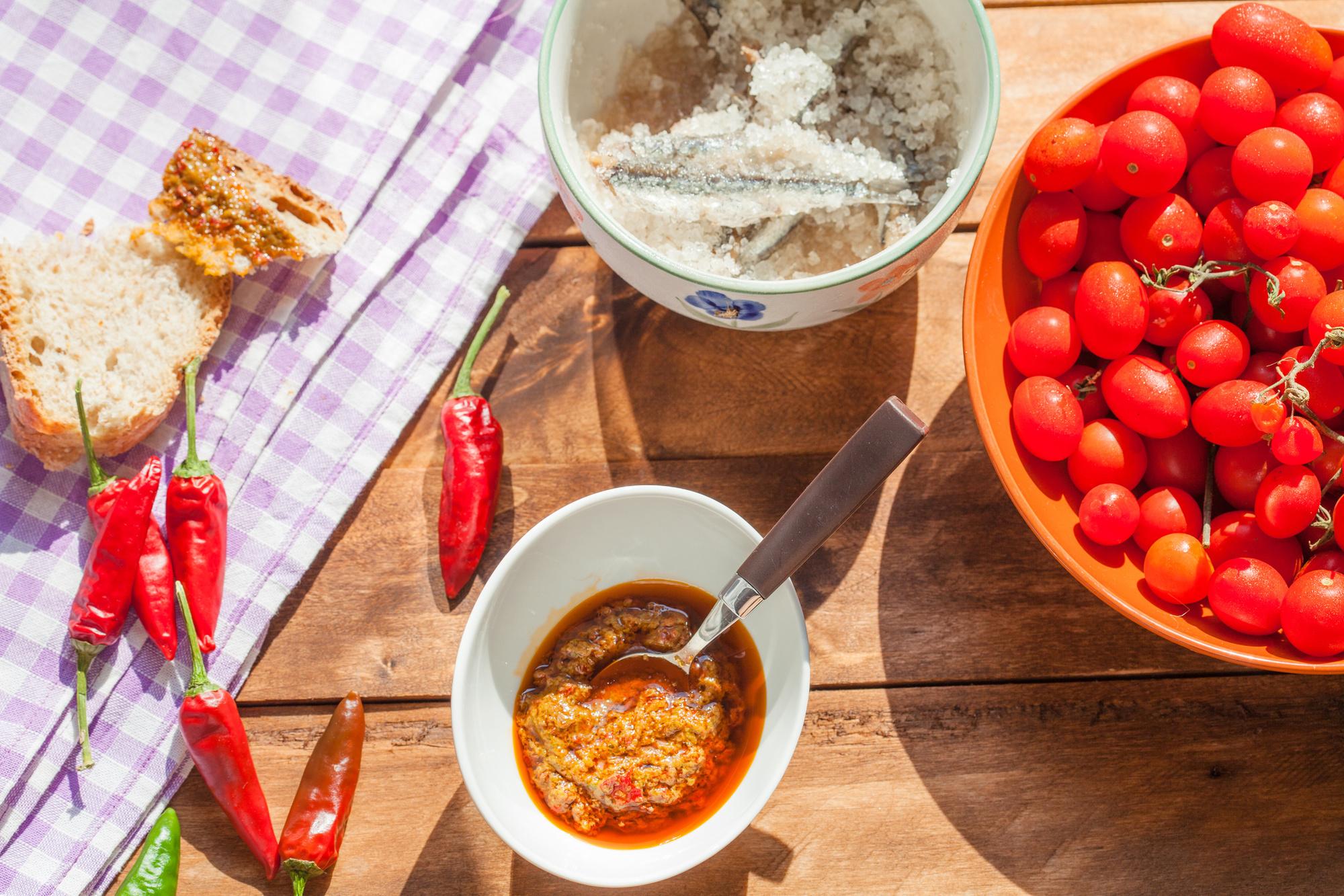"""La """"sardella"""" -pâte à base d'huile d'olive,de piment et de sardines- mets typique de la Calabre, Getty"""