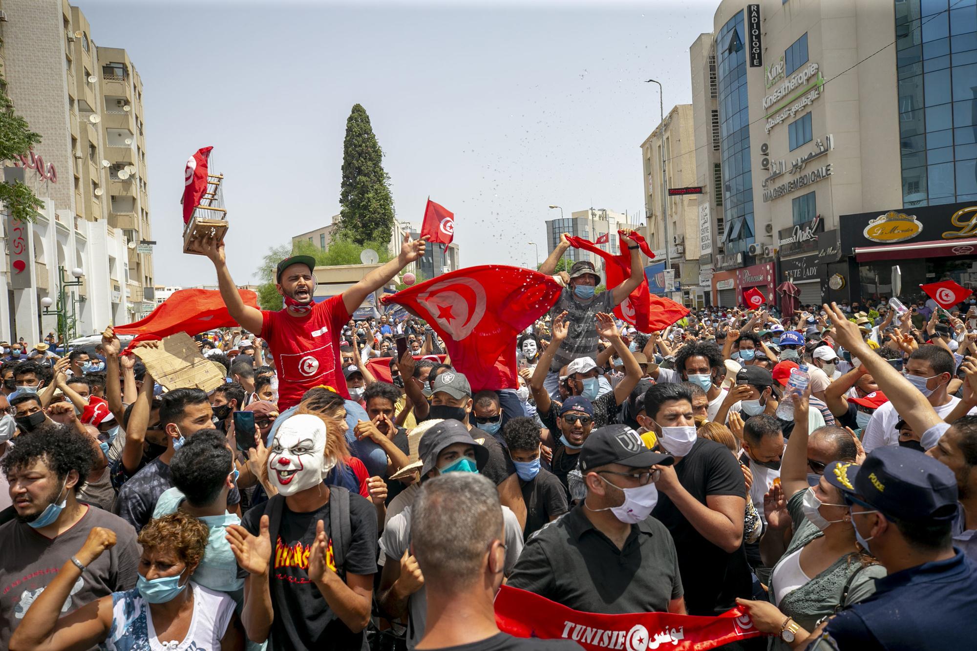 Protesten in Tunis op 25 juli 2021, Getty Images