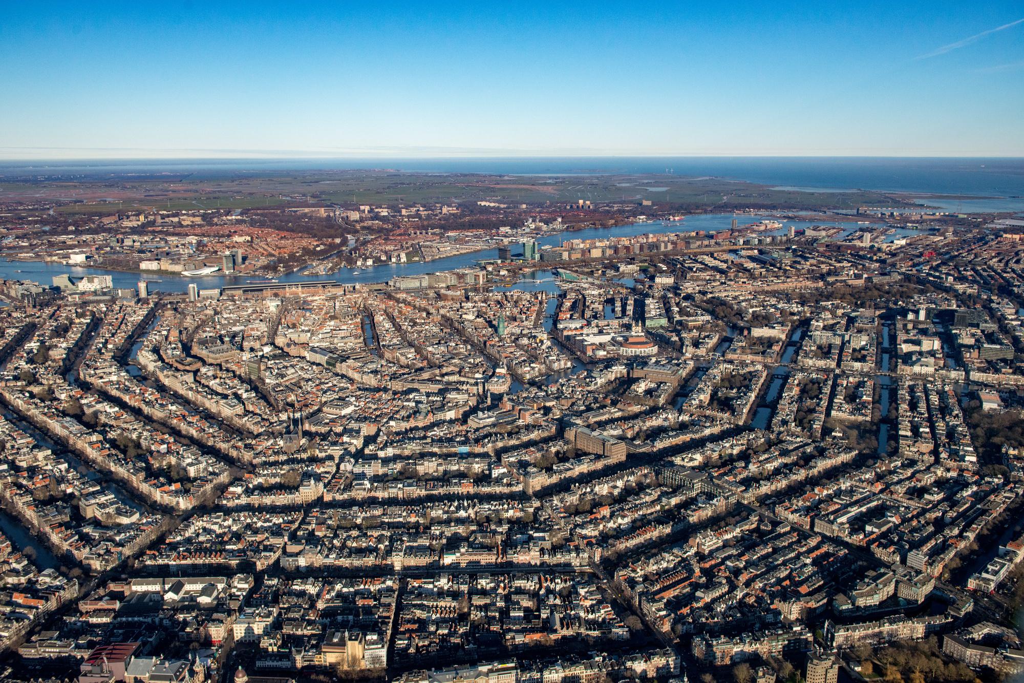 Vue aérienne d'Amsterdam., GETTY