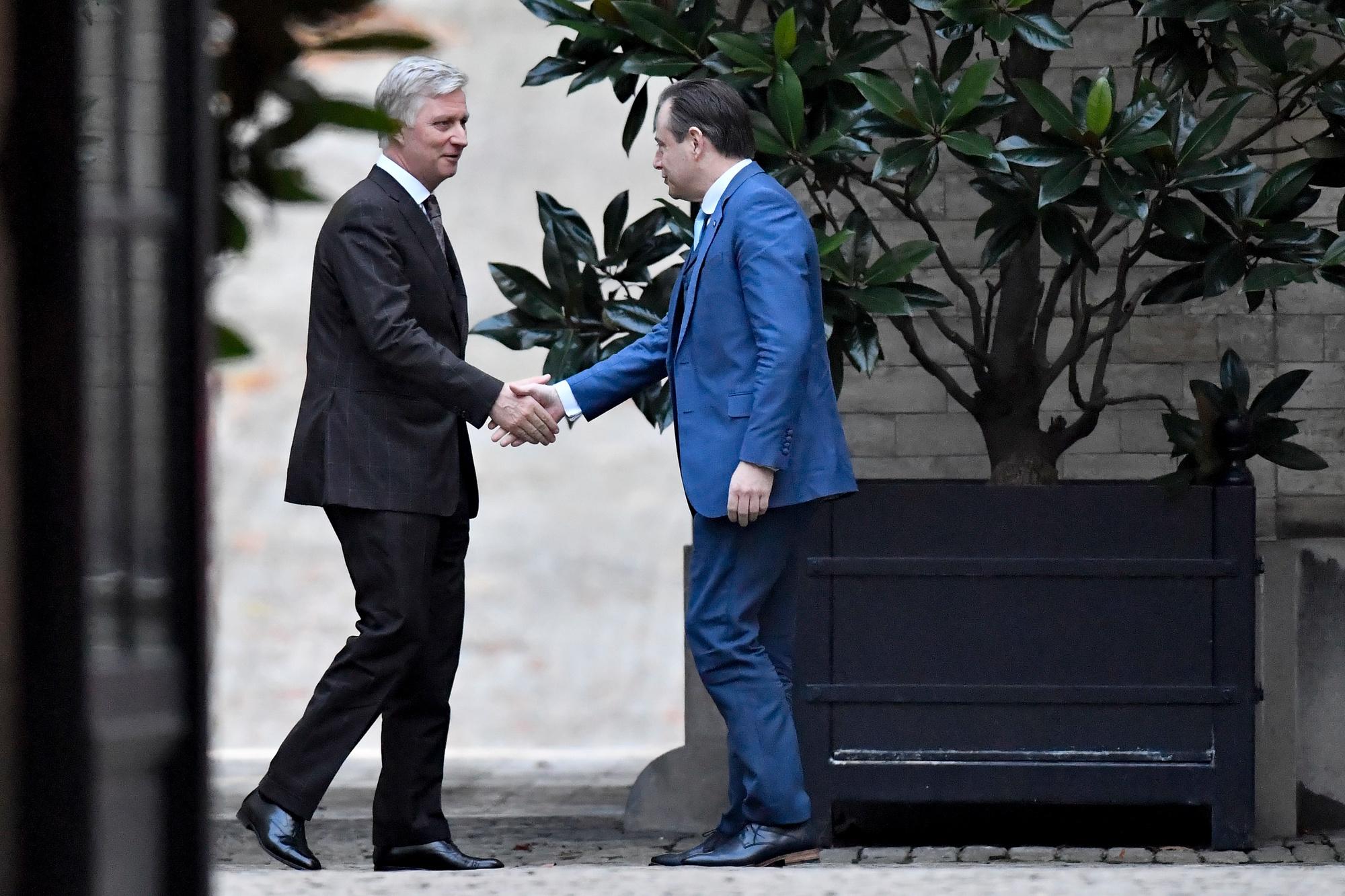 Le président de la NV-A Bart De Wever rencontre le roi Philippe le 10 décembre 2019. , belga