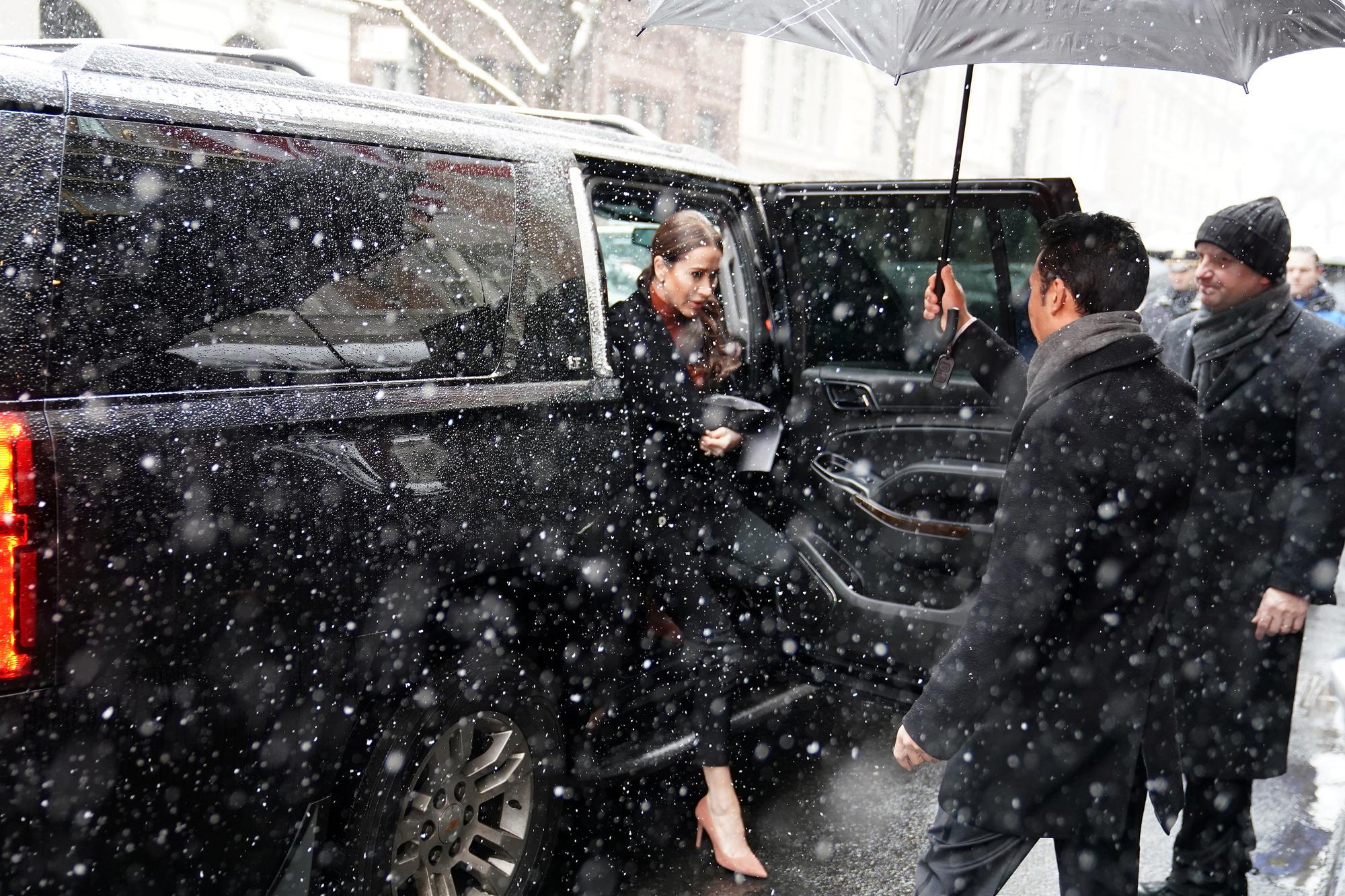 Jessica Mulroney arrive à la baby shower de son ami Meghan à New York. , reuters