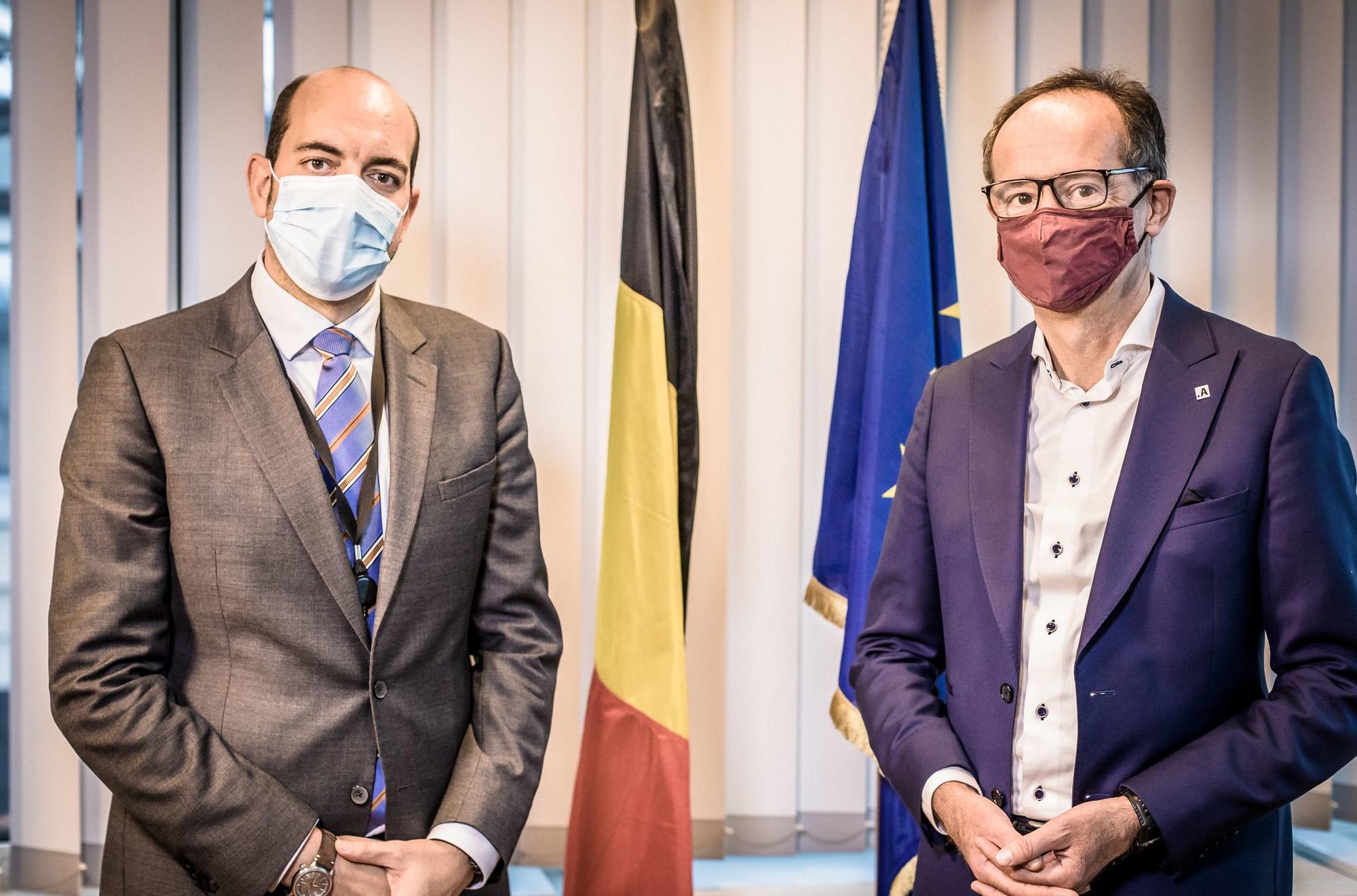 Mathieu Michel, Staatssecretaris van Digitalisering, en Bart Steukers, toekomstig CEO van technologiefederatie Agoria., Gaia-X