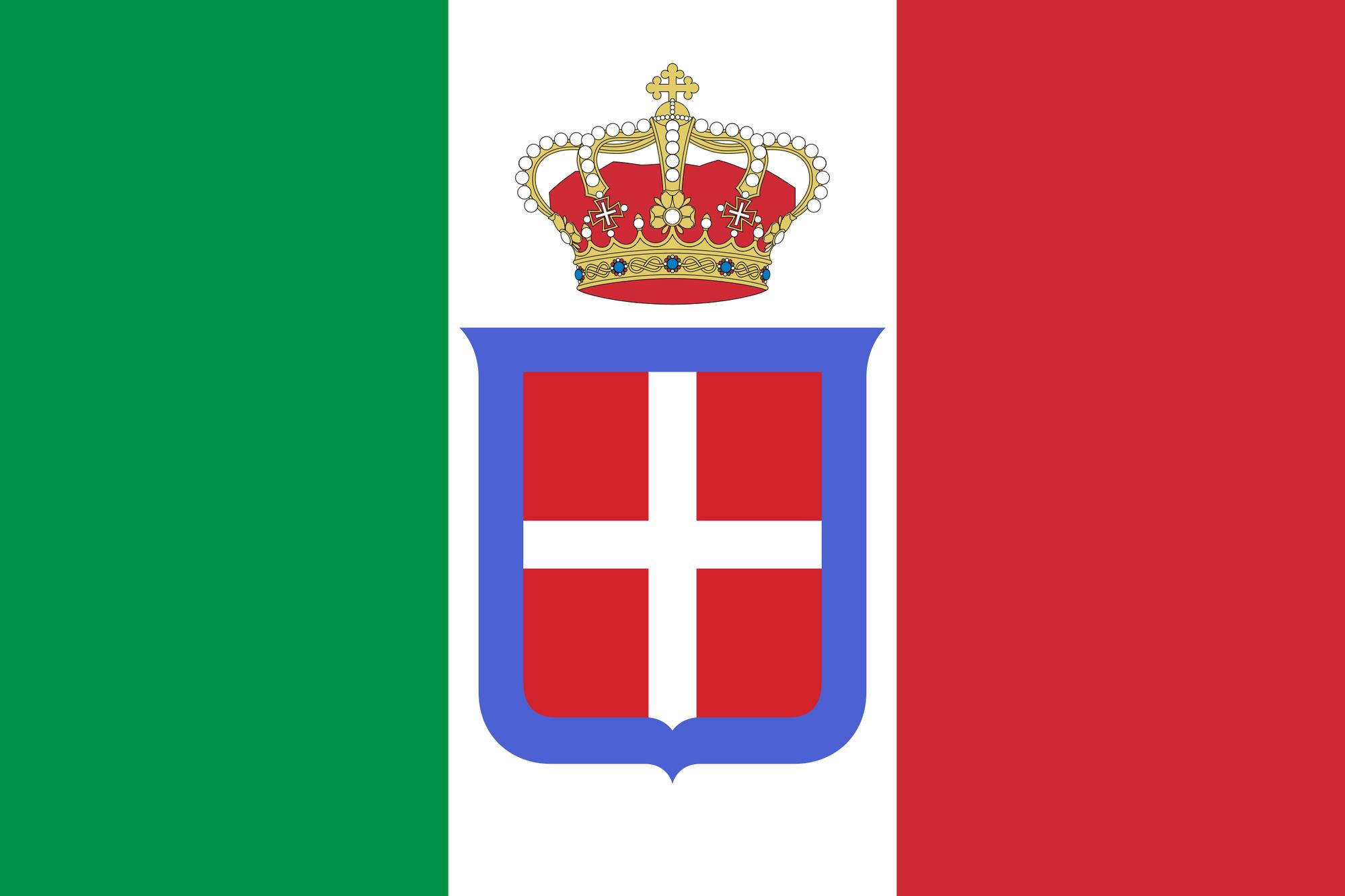 De Italiaanse vlag tot 1946. Merk vooral het wapenschild van het huis van Savoie op met de blauwe band., gf